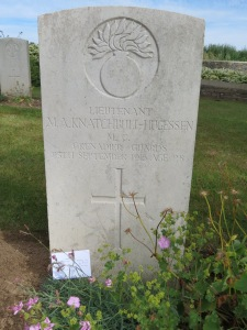 The grave of Maurice Knatchbull-Hugessen at Fricourt. Photograhed for 'Marching in Memory' for Combat Stress, July 2015