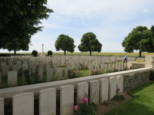 The grave of William Marshall at Beulencourt. Photographed for 'Marching in Memory' for Combat Stress, July 2015