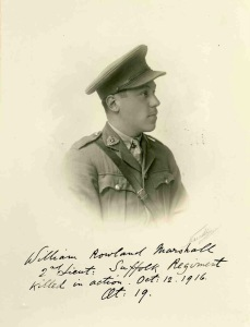William Marshall, 2nd Lt, 7th Bn, Suffolk Regt. kia Battle of the Somme