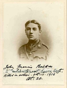 John Raikes, 2nd Lt, 9th Bn, Essex Regt. kia Battle of the Somme