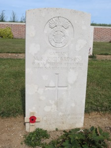 The grave of Mervyn Richardson at Point 110 Cemetery.  Photographed for 'Marching in Memory' for Combat Stress, July 2015