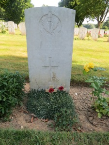 The grave of Charles Ellerton at Ecoivres Cemetery.  Photographed for 'Marching in Memory' for Combat Stress, July 2015