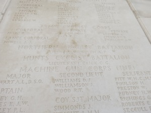 Alick Blyth's name on the Tyne Cot Memorial. Photographed for Marching in Memory, July 2015