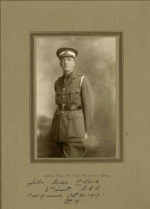 2nd Lt John Clark, Royal Garrison Artillery. kia 20 October 1917