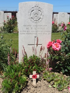 Humfrey Cole's grave at Varennes Military Cemetery. Photographed for 'Marching in Memory' July 2015