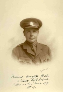 2nd Lt Frederick Haden. kia Passchendaele