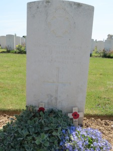 The grave of Frederick Haden at Monchy-le-Preux. Photographed for Marching in Memory, July 2015