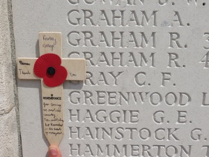 George Haggie's name on the Tyne Cot Memorial. Photographed for Marching in Memory, July 2015