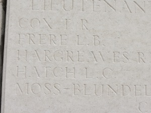 Reginald Hargreaves on the Loos Memorial.  Photographed for Marching in Memory, July 2015