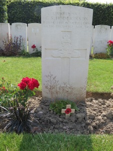 The grave of Geoffrey Hodgkinson at Brandhoek.  Photographed for Marching in Memory, July 2015