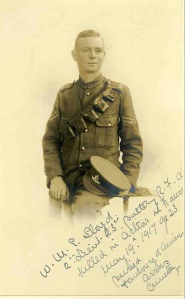 2nd Lt William Lloyd, Royal Field Artillery.  kia Battle of Arras