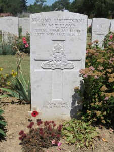 The grave of William Lloyd at Faubourg Arras.  Photographed for Marching in Memory, July 2015
