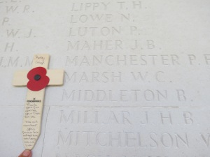 Barham Middleton's name on the Arras Memorial. Photographed for Marching in Memory, July 2015