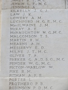 Captain John Milne's name on the Arras Flying Services Memorial. Photographed for Marching in Memory, July 2015