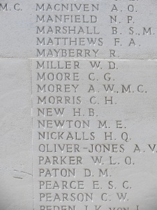 Clive Moore's name on the Arras Memorial.  Photographed for Marching in Memory, July 2015