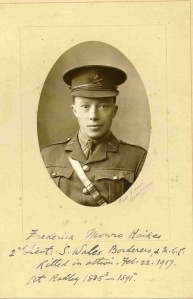2nd Lt Frederick Raikes, South Wales Borderers. kia Kut-al-Amara