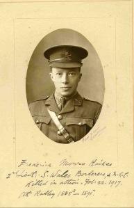 2nd Lt Frederick Raikes, South Wales Borderers. kia Kut-al-Amara