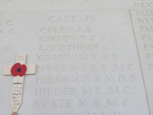 Stephen Hiddingh's name on the Arras Memorial.  Photographed for Marching in Memory, July 2015