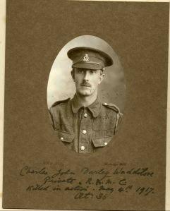 Private Charles Waddilove, Stretcher bearer, RAMC. kia Battle of Arras