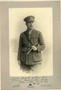 2nd Lt Charles Wilson, Machine Gun Corps.  kia 24th May 1917