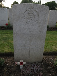 The grave of James Wilson at Lijssenthoek. Photographed for Marching in Memory, July 2015